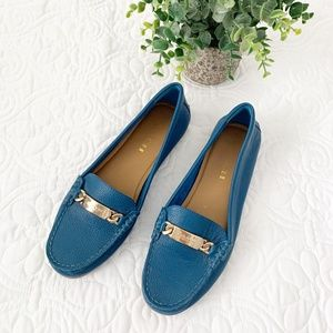 Coach | Olive Loafer Blue Pebble Leather Size 6.5